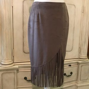 Dresses & Skirts - Taupe, suede skirt with fringe.